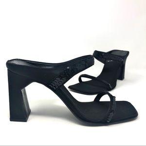 Vintage Nine West Square Toe Heels w/ Sequins US 7